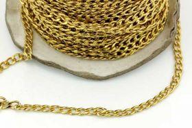 Rustfri stål kæde 3 x 5 mm Guld