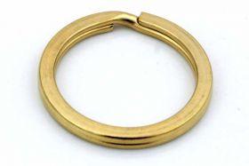 Nøglering Guld flad rustfri stål 32x3,3 mm