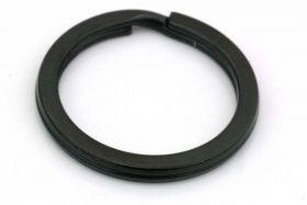 Nøglering Sort flad rustfri stål 32x3,3 mm