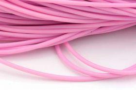 Gummisnøre 4 mm hul rosa