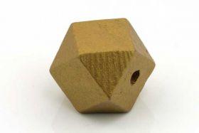 Træperler 20 mm guld 3 stk