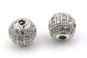 Rhinsten perle 8 mm, Sølv/klar