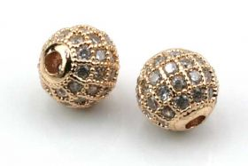 Rhinsten perle 8 mm, Rose Guld/klar