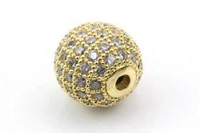 Rhinsten perle 10 mm, Guld/klar