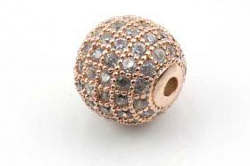 Rhinsten perle 10 mm, RoseGuld/klar