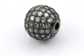 Rhinsten perle 10 mm, Gunmetal/klar
