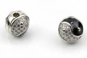 Rhinsten perle 11 mm Ying/Yang