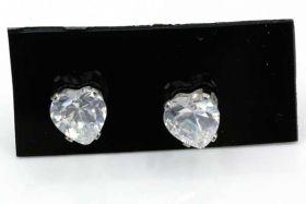 Rustfri stål ørestikker med Cubic Zirconia 4 mm Hjerte