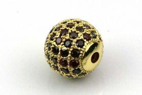 Rhinsten perle 10 mm, Guld/Rød