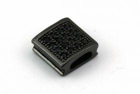 Rhinsten perle firkant Gunmetal/Sort