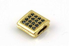 Rhinsten perle firkant Guld/Klar