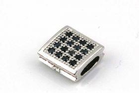 Rhinsten perle firkant Sølv/Sort