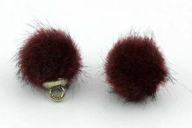 Kugle vedhæng Fake Fur 10 mm Vinrød