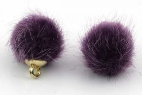 Kugle vedhæng Fake Fur 10 mm Lilla