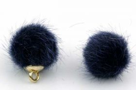 Kugle vedhæng Fake Fur 10 mm Mørkblå