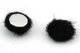 Cabochon Fake Fur Halvrund Sort 1 par