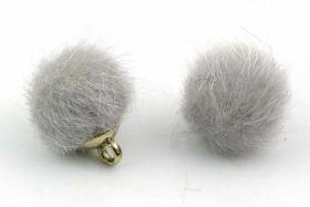 Kugle vedhæng Fake Fur 10 mm Grå