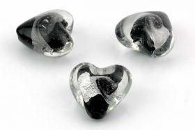Glasperler lampwork hjerter 20 mm Sorte 3 stk