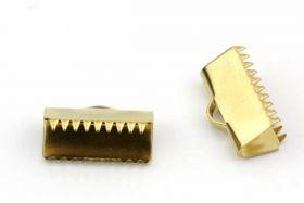Endestykke klemme Rustfri stål Guld 9x15 mm 6 stk