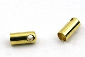 Rustfri stål enderør guld 3 mm hul 10 stk
