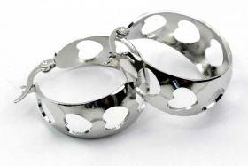 Ørehængere med hjerter rustfri stål Sølv
