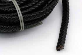 Lædersnøre Flad Flettet sort 10x5 mm