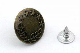 Metal knap 16x8 mm med laurbærkrans og stjerner