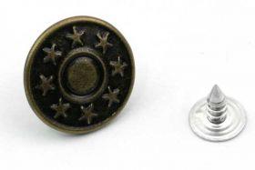 Metal knap 16x8 mm med stjerner