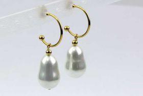 Creoler øreringe rustfri stål Guld  med shell perler
