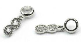 Charms til 6 mm snøre sølvbelagt evighedstegn