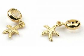 Charms til 6 mm snøre guldbelagt søstjerne