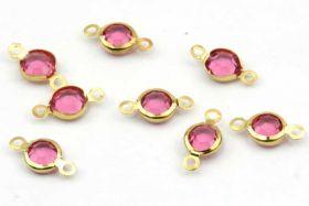 Led med sten rustfri stål guld Pink Zircon 10 stk