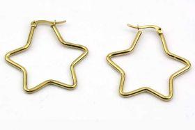 Ørering Stjerne Guld rustfri stål