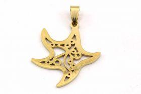 Rustfri stål vedhæng Guld Starfish 45x30 mm