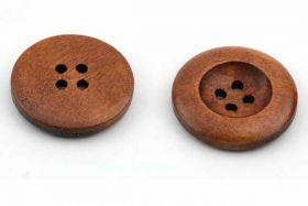 Rund træknap 25 mm med 4 huller lys mahognie