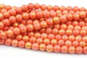 Mashan Jade 10 mm Orange med guld