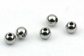 Rustfri stål perle 4 mm, hul 1 mm
