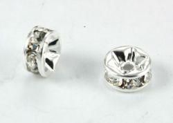 Rhinstens rondel 7 mm silver / crystal