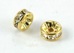 Rhinsten rondel 7 mm golden color crystal