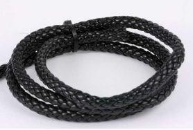 Imiteret lædersnøre sort ca.6,5 mm