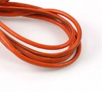 Lædersnøre orange 2 mm