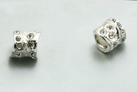 Metal perle med rhinsten