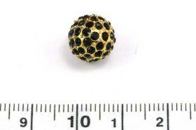 Rhinsten perle 10 mm, Guld/Sort
