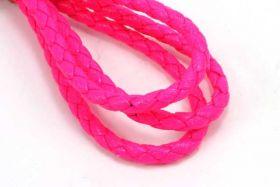 Imiteret lædersnøre Pink 4 mm