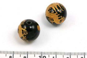 Onyx perle med håndgraveret drage 10 mm guld