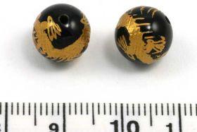 Onyx perle med håndgraveret drage 16 mm guld