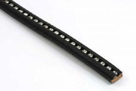 Lædersnøre 10x6 mm med rhinsten ca 95 cm