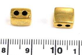 Metalperle m. 2 huller guld farve 9x8 mm