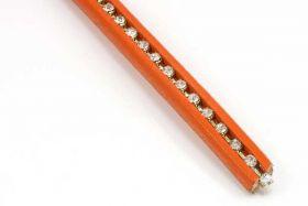 Lædersnøre 10x6 mm med rhinsten Orange ca 95 cm
