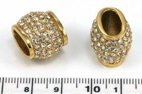 Rustfri stål led guld m.rhinsten hul ca.12x7 mm